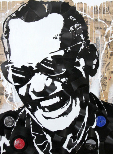 Ray-Charles---Broken-Records-and-Mixed-Media-on-Canvas-x1000
